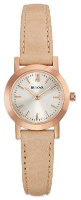 Bulova Classic Ladies' 24mm Dress Watch in Rose Goldtone Stainless Steel with Tan Leather Strap $149.25 thestylecure.com