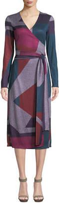 Tanya Taylor Ellie Colorblock Long-Sleeve Wrap Dress