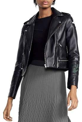 Maje Bream Dream Tomorrow Embroidered Leather Moto Jacket
