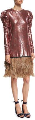 Neiman Marcus Johanna Ortiz Aurora Sequined Puff-Shoulder Dress with Feather Hem