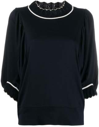 Tsumori Chisato oversized contrast-trim sweater
