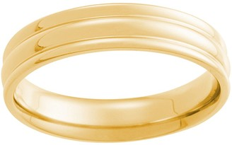 14K Gold 4mm High Polish Fluted Comfort FitWedding Band
