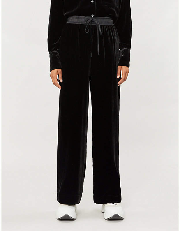 Wide-leg high-rise velvet jogging bottoms