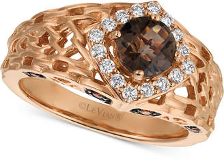 LeVian Le Vian Chocolate Quartz (5/8 ct. t.w.) & Diamond (1/3 ct. t.w.) Ring in 14k Rose Gold