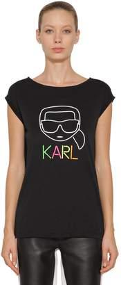 Karl Lagerfeld Paris Neon Light Cotton Blend T-Shirt