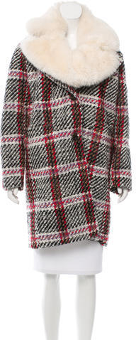 Carven Carven Wool-Blend Faux Fur-Trimmed Coat