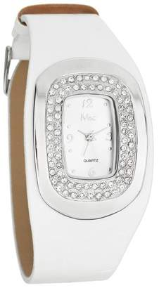 MC M&c Women's Stylish White PU Leather with CZ Watch