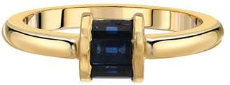 Retrouvaí Sapphire Barrel Band Ring - Yellow Gold