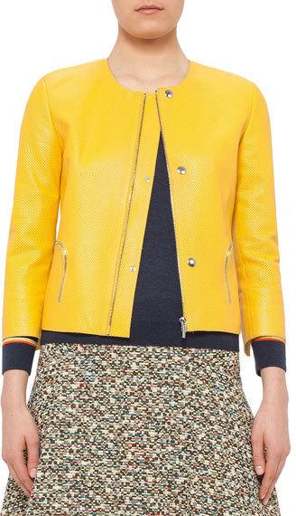 Akris PuntoAkris Punto 3/4-Sleeve Perforated Leather Jacket, Xanthoria