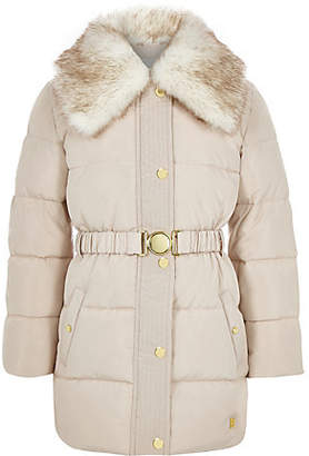 River Island Girls Cream faux fur collar belted coat