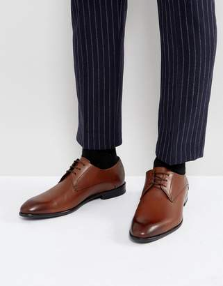 HUGO C-Dresios Burnished Calf Leather Lace Up Derby Shoes in Tan