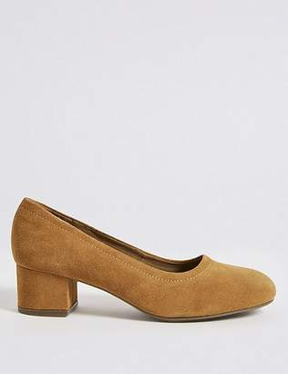 Marks and Spencer Suede Block Heel Court Shoes