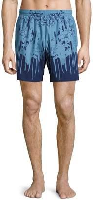 Alexander McQueen Men's Floral Beachwear Trunks