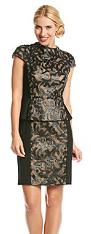 Muse Peplum Dress with Faux Leather Laser Cut Detail