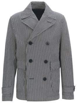 BOSS Hugo Striped Cotton Peacoat Cabasso W 38R Dark Blue