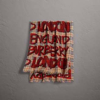 Burberry Graffiti Print Check Wool Silk Large Square Scarf