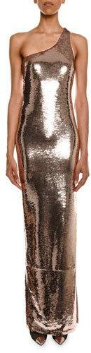 TOM FORD One-Shoulder Side-Slit Fitted Evening Gown