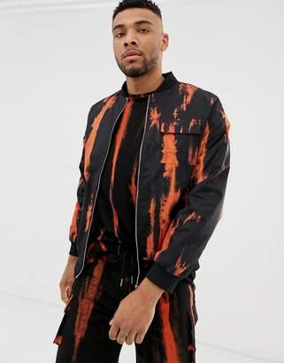 N. Liquor Poker stripe tie dye bomber jacket in orange