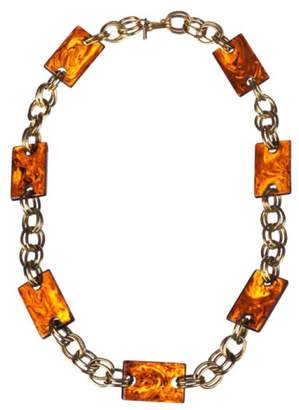 Saint Laurent Rectangular Faux Tortoise Shell Chain Necklace
