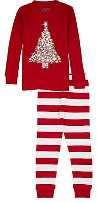 Sara's Prints KIDS' TREE-GRAPHIC & STRIPED COTTON PAJAMA SET