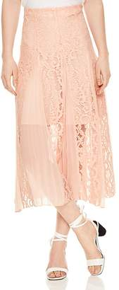 Sandro Polina Pleated Lace Midi Skirt