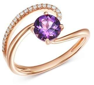 Bloomingdale's Amethyst & Diamond Cocktail Ring in 14K Rose Gold - 100% Exclusive