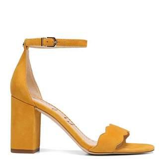 Mustard Yellow Suede Block Heel Sandals
