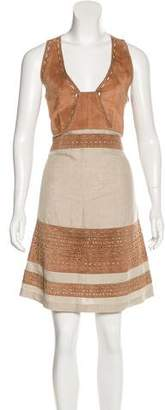 Derek Lam Suede Laser-Cut Dress