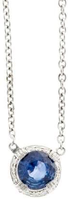 Platinum with 0.88ct Cornflower Blue Sapphire & 0.15ct Diamond Vintage Pendant Necklace