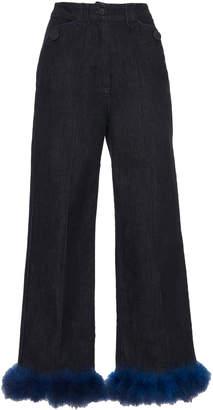 Blumarine Straight Leg Feather Trim Jean
