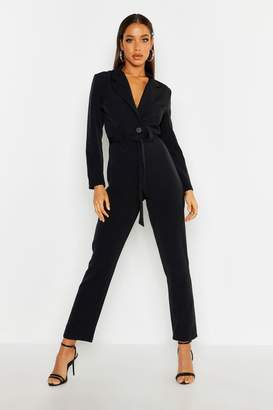 boohoo Tailored Belted Jumpsuit