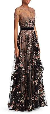 Talbot Runhof Women's Mixed Media Embroidered Gown