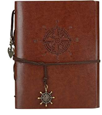 Scrapbook DIY Photo Album Handmade Leather Memory Book 60 Pages for Baby Anniversary Birthday Wedding Travel Graduation Picture (Large Brown Compass)