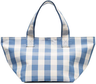 Trademark blue and white gingham grocery small tote bag
