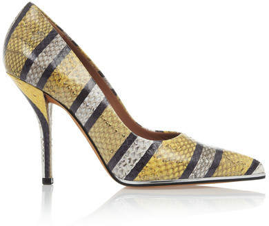 Givenchy - Striped Print Pumps In Yellow, Grey And Black Watersnake