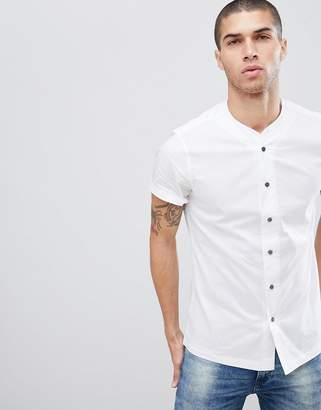 Asos Design DESIGN slim fit shirt with baseball collar