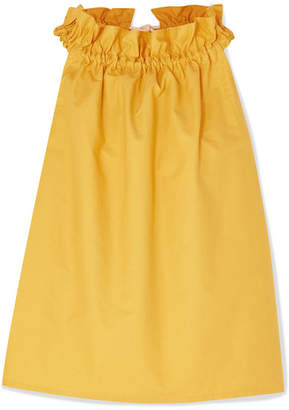 Atlantique Ascoli Latitude Rope-trimmed Gathered Cotton-poplin Top - Yellow