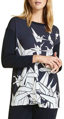 Marina Rinaldi Venere Origami-Print Long-Sleeve Top