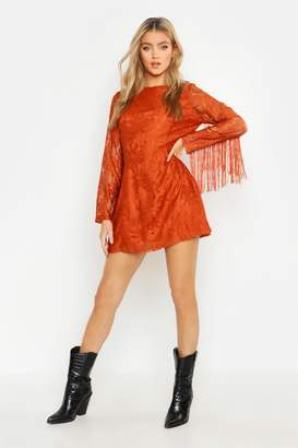 boohoo Tassel Sleeve Lace Shift Dress