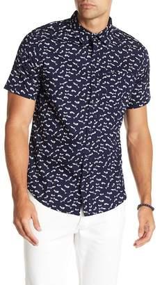 Public Opinion Fish Skeleton Print Regular Fit Woven Shirt