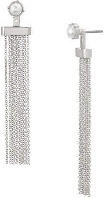 Steve Madden Faux Pearl Tassel Drop Earrings