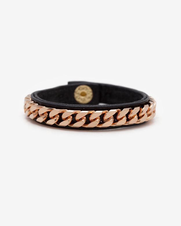 Vita Fede Monaco Single Wrap Leather/Chain Bracelet: Black