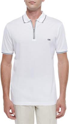 Salvatore Ferragamo Zip Polo Shirt, White