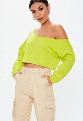 Missguided Green Off The Shoulder Sweatshirt