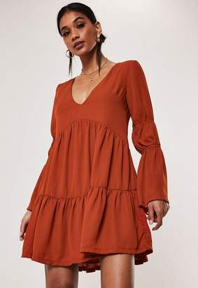 Missguided Rust Tiered Smock Dress