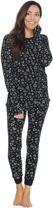 Anybody AnyBody Loungewear Petite Cozy Knit Waffle Printed PJ Set