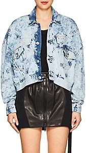 Taverniti So Ben Unravel Project Women's Snake-Print Bleached Denim Crop Jacket - Blue Multi