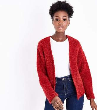 New Look Dark Red Boucle Cardigan