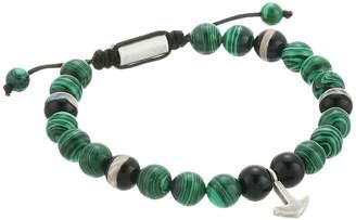 Steve Madden Malachite Bead with Anchor Charm Bracelet Bracelet