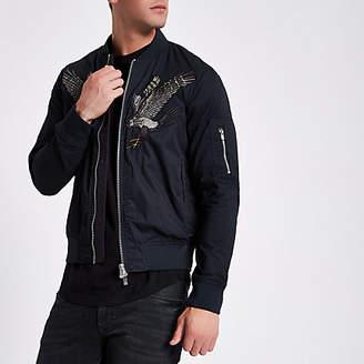 River Island Jack and Jones navy bomber jacket